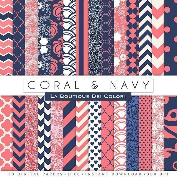 Coral and Navy Digital Papers  La Boutique Dei Colori    Mygrafico
