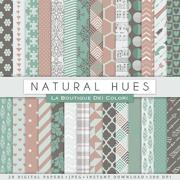 Natural Hues Digital Paper  La Boutique Dei Colori    Mygrafico