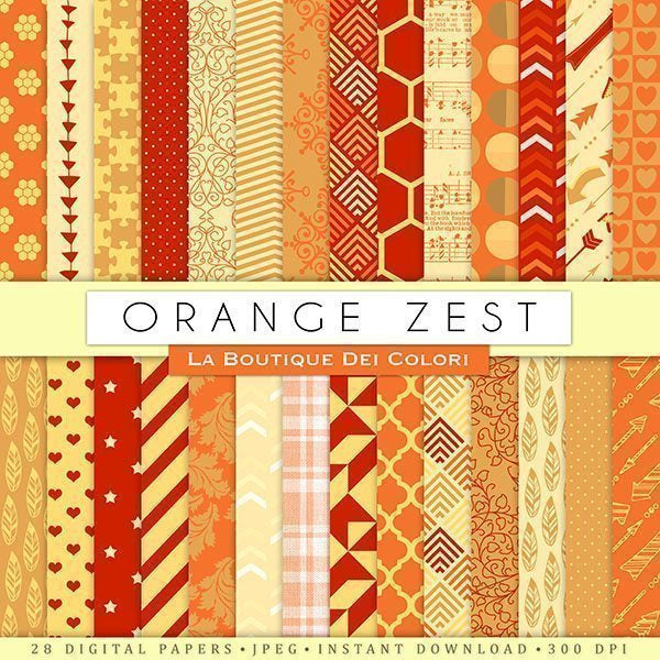 Orange Zest Digital Paper  La Boutique Dei Colori    Mygrafico