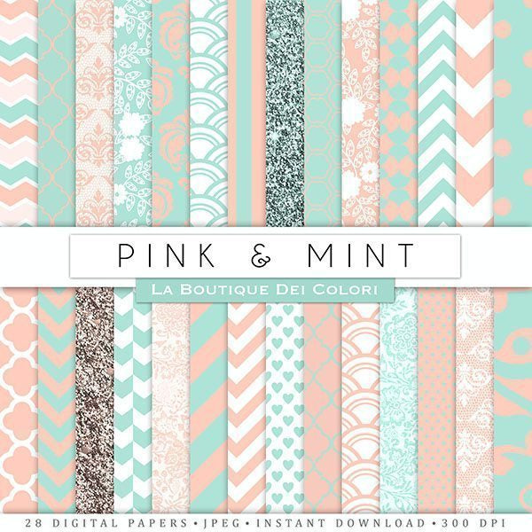 Pink and mint Digital Papers  La Boutique Dei Colori    Mygrafico