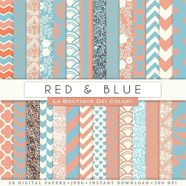 Red and Blue Digital Papers  La Boutique Dei Colori    Mygrafico