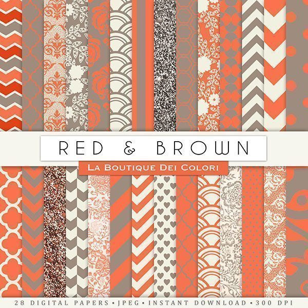 Red and Brown Digital Papers  La Boutique Dei Colori    Mygrafico