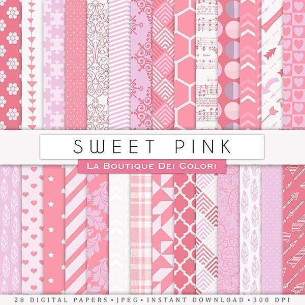 Sweet Pink Digital Papers  La Boutique Dei Colori    Mygrafico