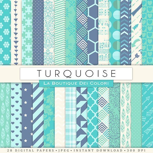 Turquoise Digital Paper  La Boutique Dei Colori    Mygrafico