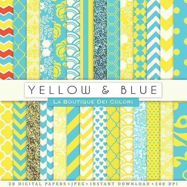 Yellow and Blue Digital Papers  La Boutique Dei Colori    Mygrafico