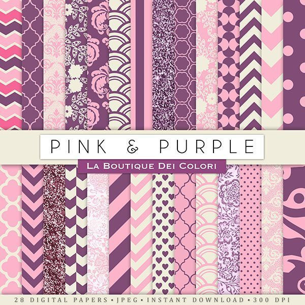 Pink and Purple Digital Papers  La Boutique Dei Colori    Mygrafico