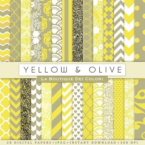 Yellow and Olive Digital Papers  La Boutique Dei Colori    Mygrafico