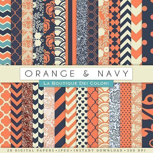 Orange and Navy Digital Paper Digital Papers & Backgrounds La Boutique Dei Colori    Mygrafico