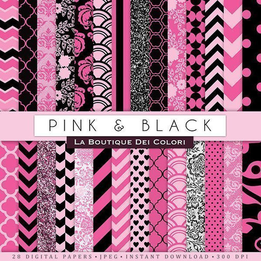 Pink and Black Digital Papers Digital Papers & Backgrounds La Boutique Dei Colori    Mygrafico