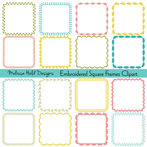 Embroidered Square Frames Digital Clipart Printable Templates Melissa Held Designs    Mygrafico