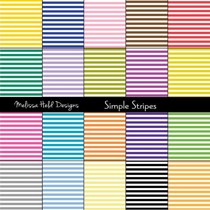 Simple Stripes Digital Paper & Backgrounds Melissa Held Designs    Mygrafico