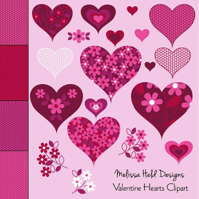 Valentine Hearts Clipart and Lace Patterns Clipart & Digital Paper Melissa Held Designs    Mygrafico