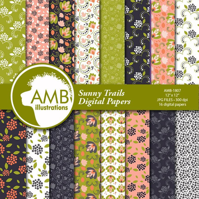 Floral Digital Papers, Shabby chic papers, vintage flowers, digital papers, pink floral pattern, Sunny Trail pattern, AMB-1807 Digital Paper & Backgrounds AMBillustrations    Mygrafico