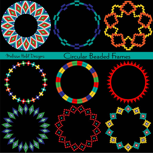 Circular Beaded Frames Clipart