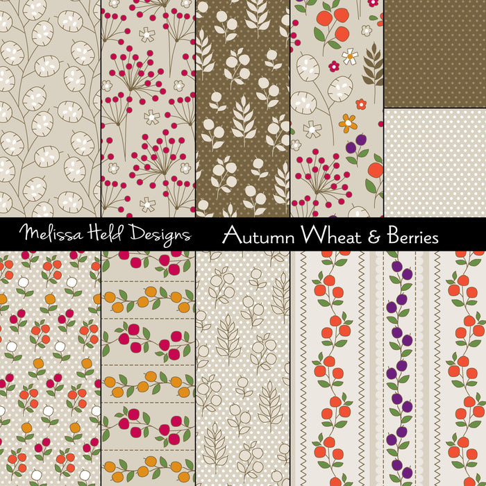 Autumn Wheat and Berries Digital Paper & Backgrounds Melissa Held Designs    Mygrafico