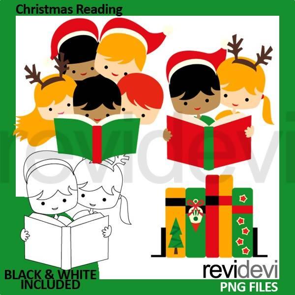 Christmas Reading Clipart