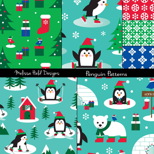 Penguin Christmas Patterns Digital Paper & Backgrounds Melissa Held Designs    Mygrafico