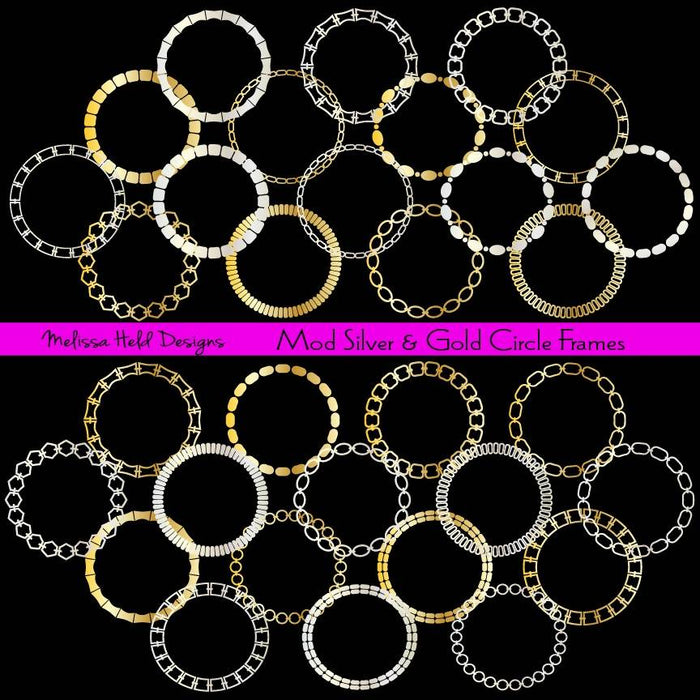 Mod Silver and Gold Circle Frames Cliparts Melissa Held Designs    Mygrafico