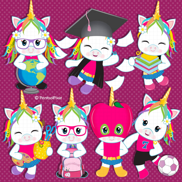Back to school Girl Unicorns clipart