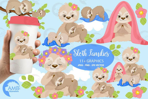 Sleepy sloth clipart, sloth family, sloth babies clipart, sloth mama and babies for scrapbooking, Cupcake Toppers, Paper Crafts, AMB-2201 Cliparts AMBillustrations    Mygrafico