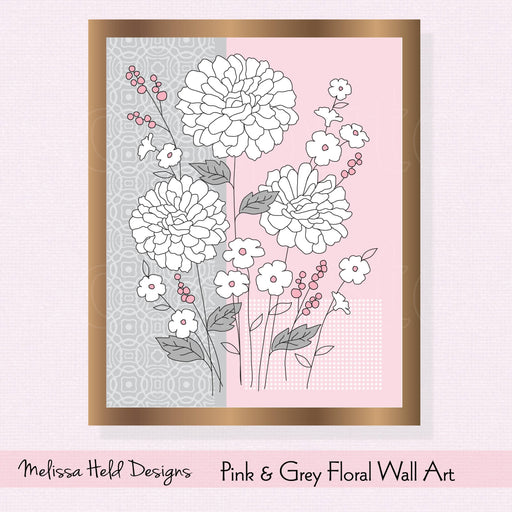 Pink and Grey Floral Wall Art Digital Paper & Backgrounds Melissa Held Designs    Mygrafico