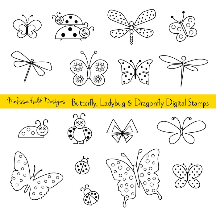 Butterfly, Ladybug and Dragonfly Digital Stamps Clipart Digital Stamps Melissa Held Designs    Mygrafico