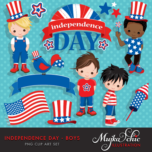 4th of July, Independence Day Boys Clipart – American flag, American bird, 4th of July banner, stars, frame & cute characters  Mujka Chic    Mygrafico
