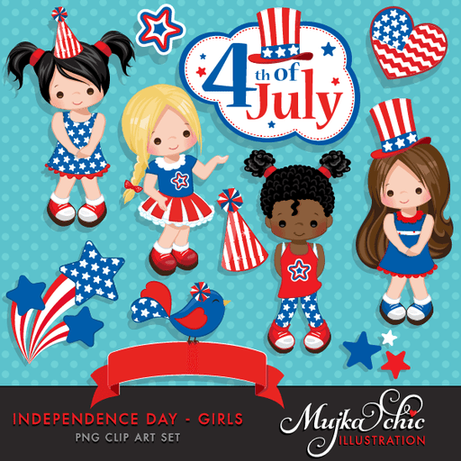 4th of July, Independence Day Girls Clipart  American flag, American bird, 4th of July banner, stars, frame & cute characters Clipart Mujka Chic    Mygrafico