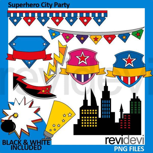 Superhero city party clipart Cliparts Revidevi    Mygrafico