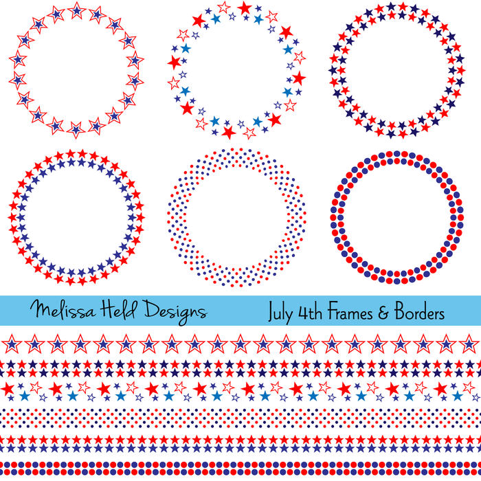 July 4th Frames and Borders Clipart Melissa Held Designs    Mygrafico