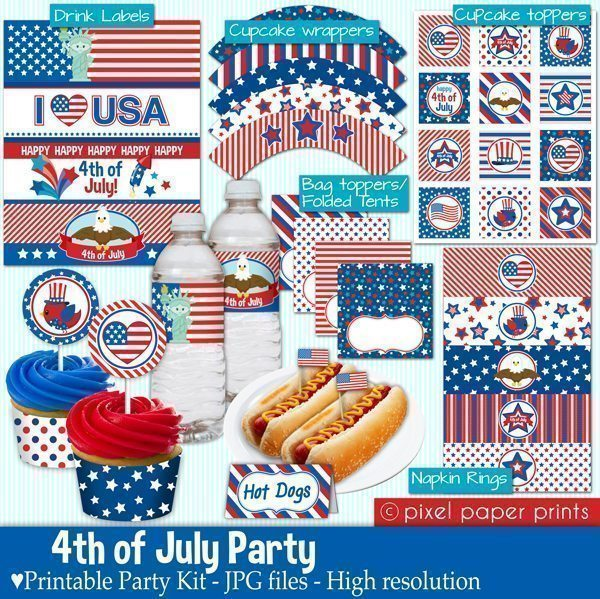 4th of July Party Printable Templates Party Printable Templates Pixel Paper Prints    Mygrafico
