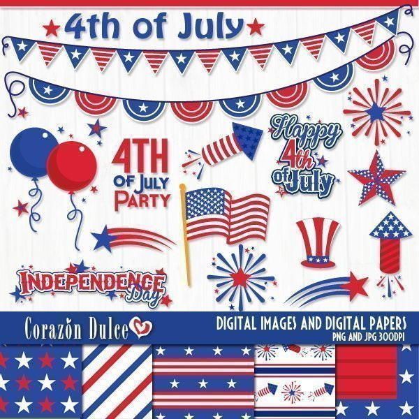 4th of July Party Party Printable Templates Corazón Dulce    Mygrafico