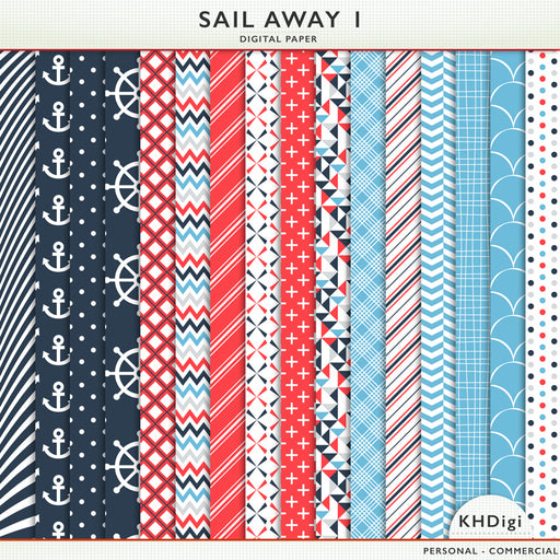 Sail Away 1 Digital Paper Digital Papers & Backgrounds KH Digi    Mygrafico