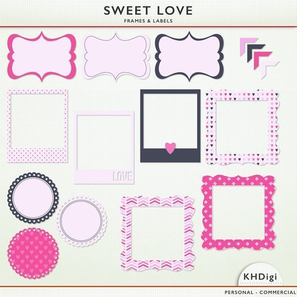 Sweet Love Frames & Labels  KH Digi    Mygrafico
