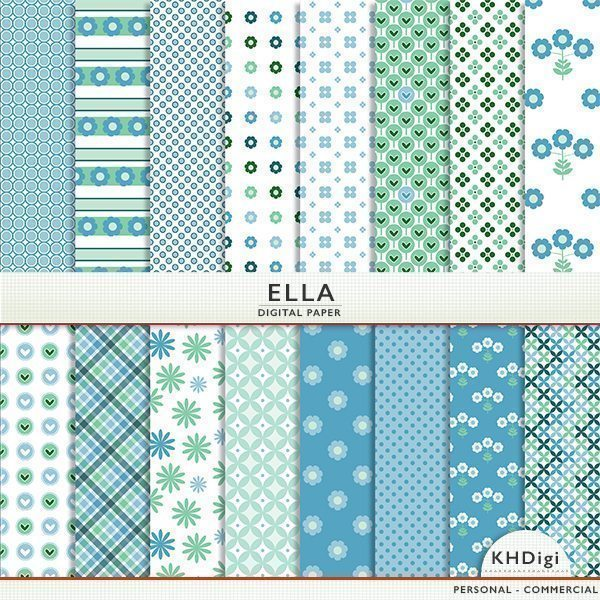 Blue & Green Digital Paper - Ella Digital Papers & Backgrounds KH Digi    Mygrafico