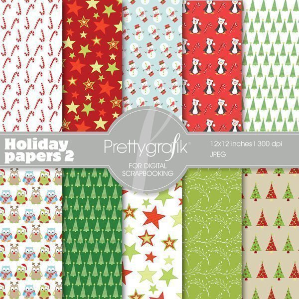 Holiday papers 2 Digital Papers & Backgrounds Prettygrafik    Mygrafico