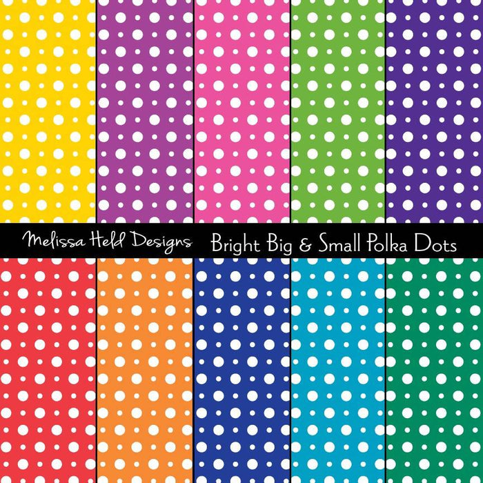 Bright Big and Small Polka Dot Patterns Digital Paper & Backgrounds Melissa Held Designs    Mygrafico