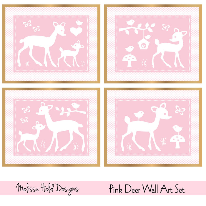 Pink Deer Wall Art Set Digital Paper & Backgrounds Melissa Held Designs    Mygrafico