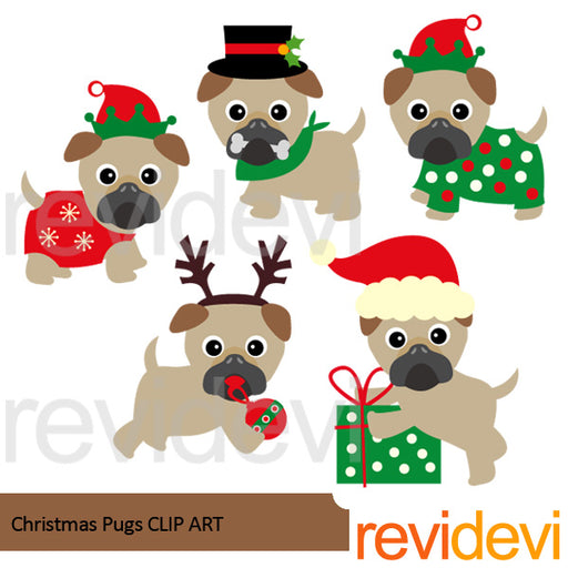 Christmas Pugs Clip Art Cliparts Revidevi    Mygrafico