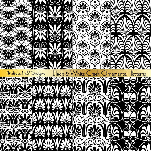Black and White Greek Ornamental Patterns