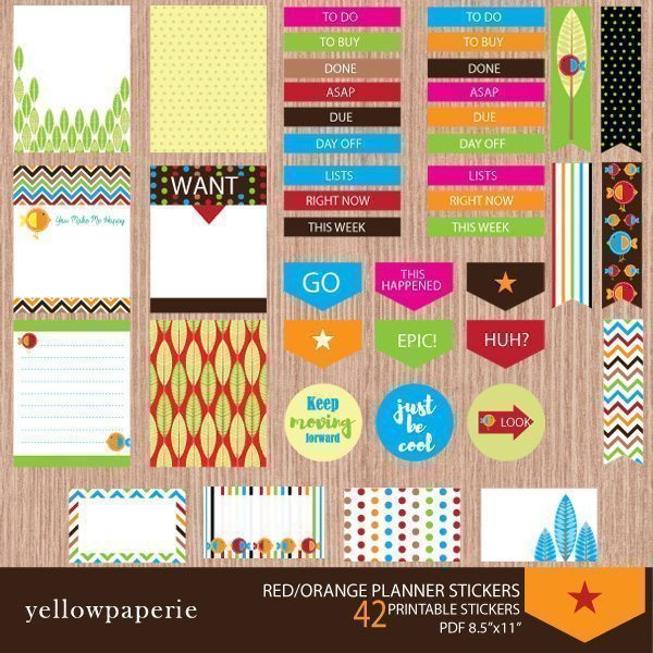 Red and Orange Planner Stickers  Yellowpaperie    Mygrafico