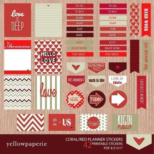 Coral and Red Planner Stickers  Yellowpaperie    Mygrafico