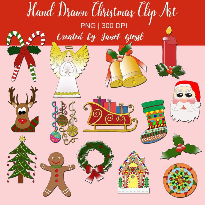 Hand Drawn Christmas Clip Art Cliparts Janet's Digital Designs    Mygrafico