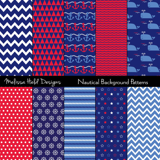 Nautical Background Patterns Digital Paper & Backgrounds Melissa Held Designs    Mygrafico