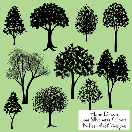 Hand Drawn Tree Silhouettes Cliparts Melissa Held Designs    Mygrafico