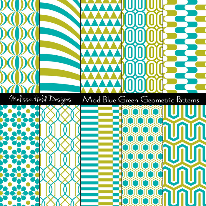 Mod Turquoise Blue and Green  Geometric Patterns Digital Paper & Backgrounds Melissa Held Designs    Mygrafico