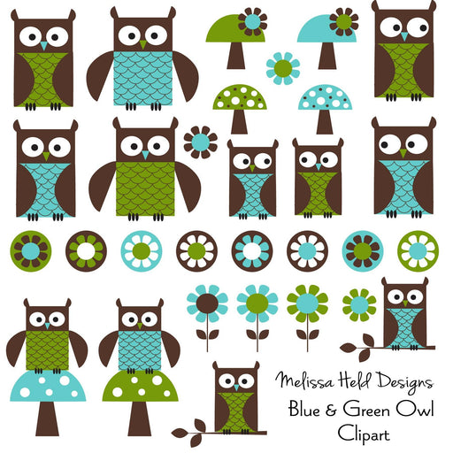 Blue Green Owl Digital Clipart Cliparts Melissa Held Designs    Mygrafico