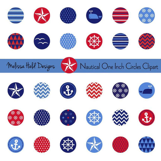 Nautical One Inch Circle Clipart Cliparts Melissa Held Designs    Mygrafico