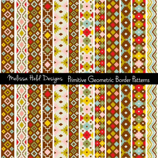 Primitive Geometric Border Patterns Clipart & Digital Paper Melissa Held Designs    Mygrafico