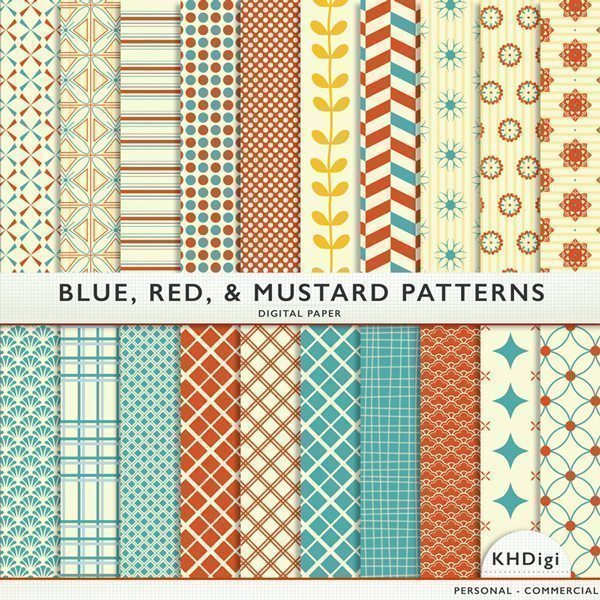 Blue Red Mustard Patterns  KH Digi    Mygrafico